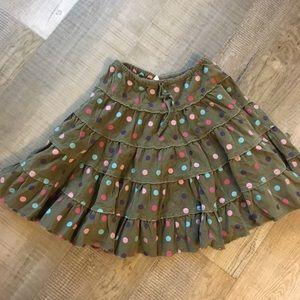 Mini Boden polka dot skirt olive green